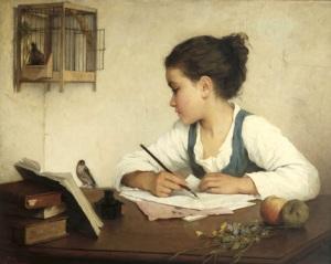henriette-browne-1829-1901-uma-menina-escrevendo-1860-1880-ost-victoria-and-albert-museum-londres